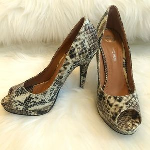 Who What Wear Snakeskin tan brown high heels shoes